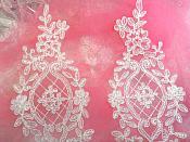 "Applique White Venice Lace Victorian Mirror Pair Bridal Motif 9"" (GB474X)"