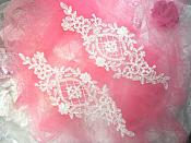 "Applique White Venice Lace Victorian Mirror Pair Bridal Motif 9"" (GB474X)"