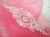 "Applique White Silver Venice Lace Victorian Bridal Motif 9"" (GB474)"