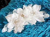 (Reduced) Pearl Rhinestone Floral Bridal Headpiece Accessory on Lace (GB475)