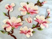 "4 Piece Embroidered Flower Appliques Floral Pink Sew On Patch 16"" (GB476)"