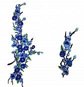 "2 Piece Embroidered Flower Appliques Floral Blue Iron On Patch 16"" (GB477)"