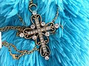 Rhinestone Cross Necklace Gold Tone (GB479)