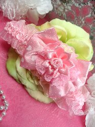GB48 Pink Heart Rose Floral Lace Bow Headband 3.5""