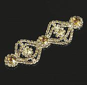 "Lt. Gold Rhinestone Applique Silver Setting Embellishment 3"" (GB483)"