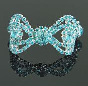 "Turquoise Rhinestone Applique Silver Setting Embellishment 3"" (GB483)"