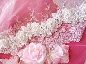 """Floral Trim White Pearl Sequin Beaded Embroidered 2.75"""" (GB486)"""