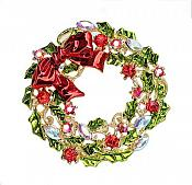 "Rhinestone Christmas Brooch Wreath with Bow Gold Metal Pin 1.75"" (GB488)"