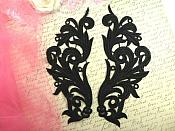 """Embroidered Appliques Black Scroll Design Mirror Pair Motifs Patch 9"""" (GB490X)"""