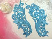 """Embroidered Appliques Turquoise Scroll Design Mirror Pair Motifs Patch 9"""" (GB490X)"""