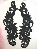 """Venise Lace Appliques Mirror Pair Black Sewing Motifs 11.75"""" (GB492X)"""