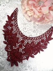 "GB50 Burgundy Floral Collar Yoke Bodice Embroidered Flower Applique 7.5"""