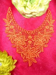 GB50 Orange Floral Collar Yoke Bodice Embroidered Flower Applique 7.5""