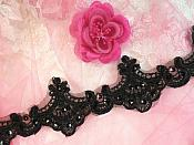"Black Trim Sequined Victorian Trimming Embroidered Lace for Sewing  2.75"" (GB500)"