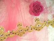 """Gold Trim Metallic Sequined Victorian Trimming Embroidered Lace  2.75"""" (GB500)"""