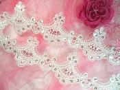 "White Bridal Trim Crystal Sequined Victorian Trimming Embroidered Lace  2.75"" (GB500)"