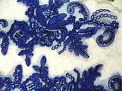 "Sequined Lace Embroidered Appliques Blue Mirror Pair Floral Ballet Motifs 9.75"" (GB501X)"