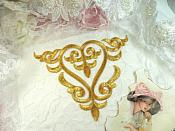 "Embroidered Applique Gold Metallic Iron On Patch DIY Clothing Designs 7"" (GB502)"