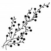 "Embroidered Applique Black Floral Vine Iron On Patch DIY Clothing Designs 17"" (GB503)"
