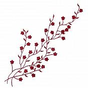 "Embroidered Applique Burgundy Floral Vine Iron On Patch DIY Clothing Designs 17"" (GB503)"