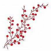 "Embroidered Applique Red Floral Vine Iron On Patch DIY Clothing Designs 17"" (GB503)"
