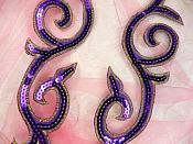 """Sequin Appliques Puple Gold Designer Mirror Pair Iron on 9"""" (GB505X)"""