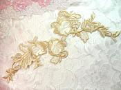 "Embroidered Appliques Champagne Floral Home Decor Motif 9"" (GB508)"
