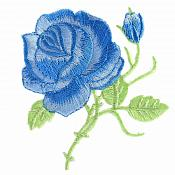 Blue Rose Embroidered Iron on Applique Clothing Patch (GB509)