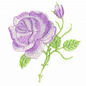 Lavender Rose Embroidered Iron on Applique Clothing Patch (GB509)