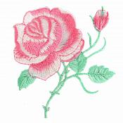 Pink Rose Embroidered Iron on Applique Clothing Patch (GB509)
