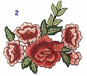 Red Burgundy Multi-Color Rose Cluster Embroidered Applique Clothing Patch (GB510)