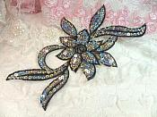 """Black Silver Holographic Flower Sequin Embroidered Applique 9.5"""" (GB58)"""