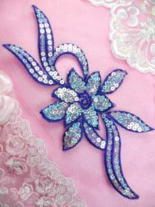 GB58 Royal Blue Flower Sequin Embroidered Floral Applique 9.5""