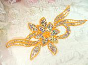 "Orange Silver Holographic Flower Sequin Embroidered Applique 9.5"" (GB58)"