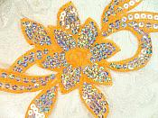 """Orange Silver Holographic Flower Sequin Embroidered Applique 9.5"""" (GB58)"""