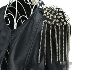 GB63 Epaulet Applique Beaded Punky Silver Spikes
