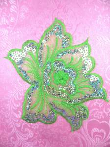 GB66 Lime Embroidered Flower Silver AB Sequin Applique 6.5""
