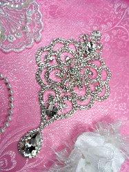 """GB76 Elegant Bridal Teardrop Dangle Silver Crystal Clear Glass Rhinestone Victorian Embellishment 7"""""""
