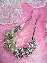 GB77 Silver Rhinestone Crystal Pearl Heart Flower Hairbow Pin 2.5""