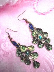 GB82 Vintage Peacock Dangle With Multicolored Jewels And Rhinestones 2.5""
