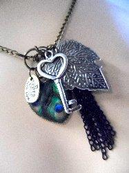 GB84 Heart Key Peacock Leaf Vintage Fashion Necklace Chain