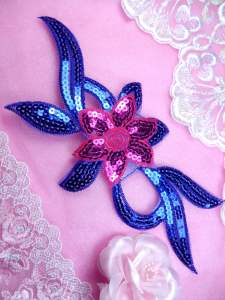 GB88 Fuchsia Royal Blue Flower Sequin Embroidered Floral Applique 9.25""