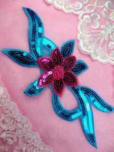 GB88 Fuschia Turquoise Flower Sequin Embroidered Floral Applique 9.25""