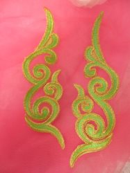 GB89 Neon Green Gold Metallic Iron On Designer Embroidered Applique 6.75""