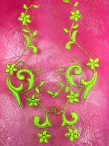 GB90 Embroidered Appliques Neon Green Gold Flower Mirror Pair Vine Iron On 9""