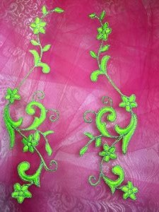 GB90 Embroidered Appliques Neon Green Silver Flower Mirror Pair Vine Iron On 9""