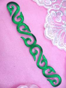GB92 Green Iron On Designer Embroidered Applique 7.25""