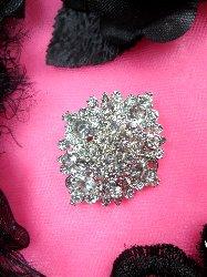 """GB98  Bridal Rhinestone Brooch Pin Vintage Silver Crystal Glass 1.5"""""""