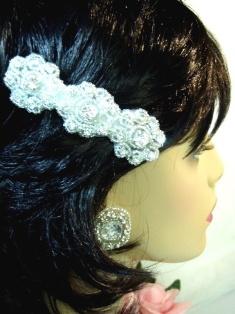 "HB0478  Crystal Silver Beaded Flower Rhinestone Hair Bow 3.75"""