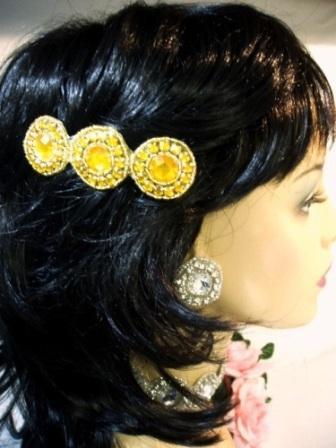 "HB0379  Gold Jewel  Beaded Rhinestone Hair Bow 3.75"""